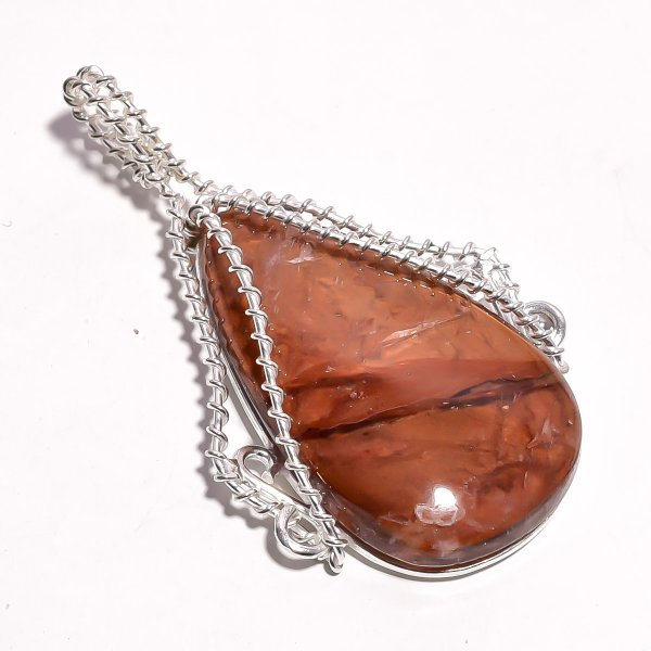 Indonesian Plume Agate Gemstone 925 Sterling Silver Wire Wrapped Pendant