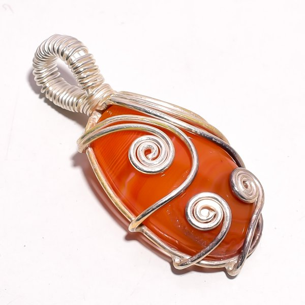 Botswana Agate Gemstone 925 Sterling Silver Wire Wrapped Pendant