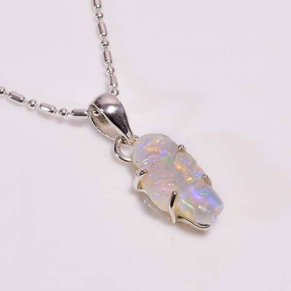 Fire Play Ethiopian Opal Carved Gemstone 925 Sterling Silver Chain Pendant Necklace