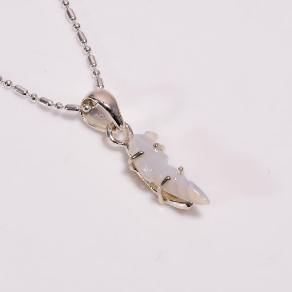 Ethiopian Opal Carved Gemstone 925 Sterling Silver Chain Pendant Necklace