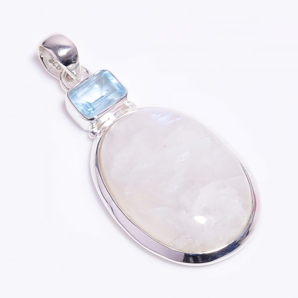 Natural Rainbow Moonstone Blue Topaz Gemstone 925 Sterling Silver Pendant
