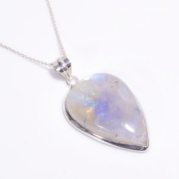 Natural Rainbow Moonstone 925 Sterling Silver Pendant Necklace