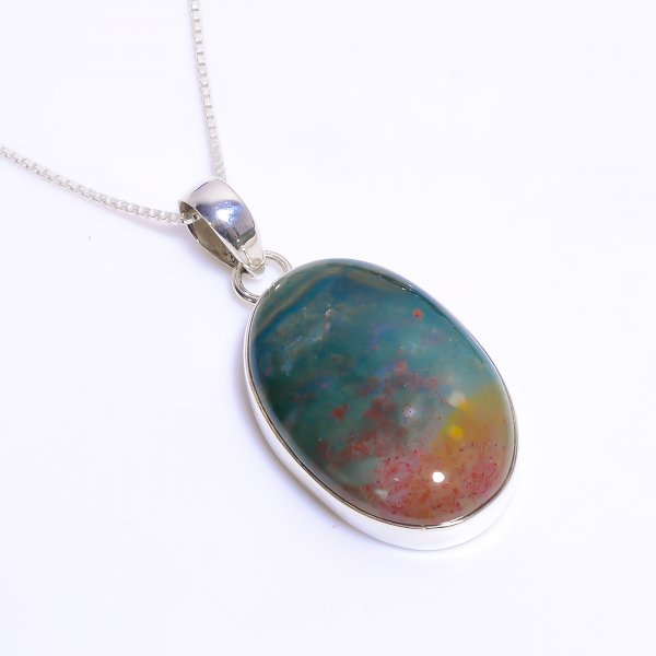 Natural Bloodstone 925 Sterling Silver Chain Pendant Necklace