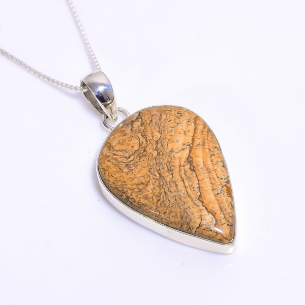 Natural Landscap Jasper 925 Sterling Silver Chain Pendant Necklace