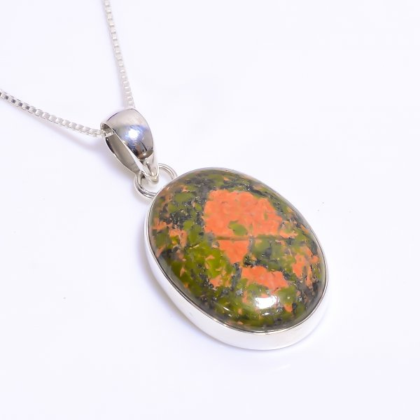 Natural Unakite Gemstone 925 Sterling Silver Chain Pendant Necklace