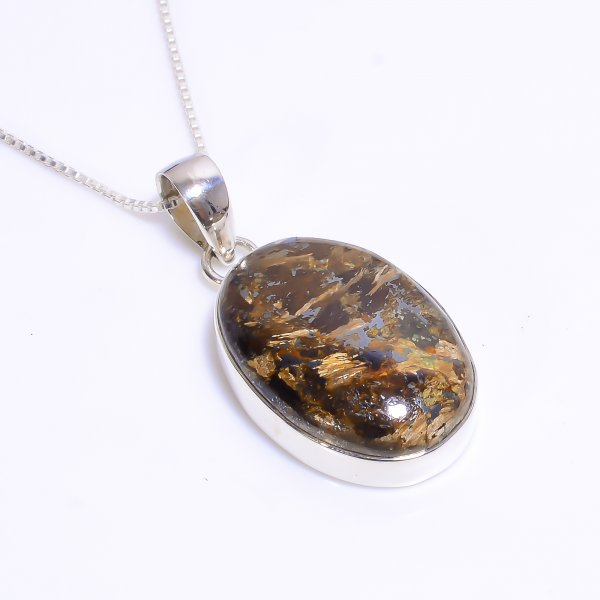 Natural Mexican Bronzite Jasper Gemstone 925 Sterling Silver Chain Pendant Necklace