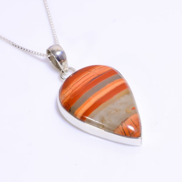 Natural Rainbow Jasper Gemstone 925 Sterling Silver Chain Pendant Necklace