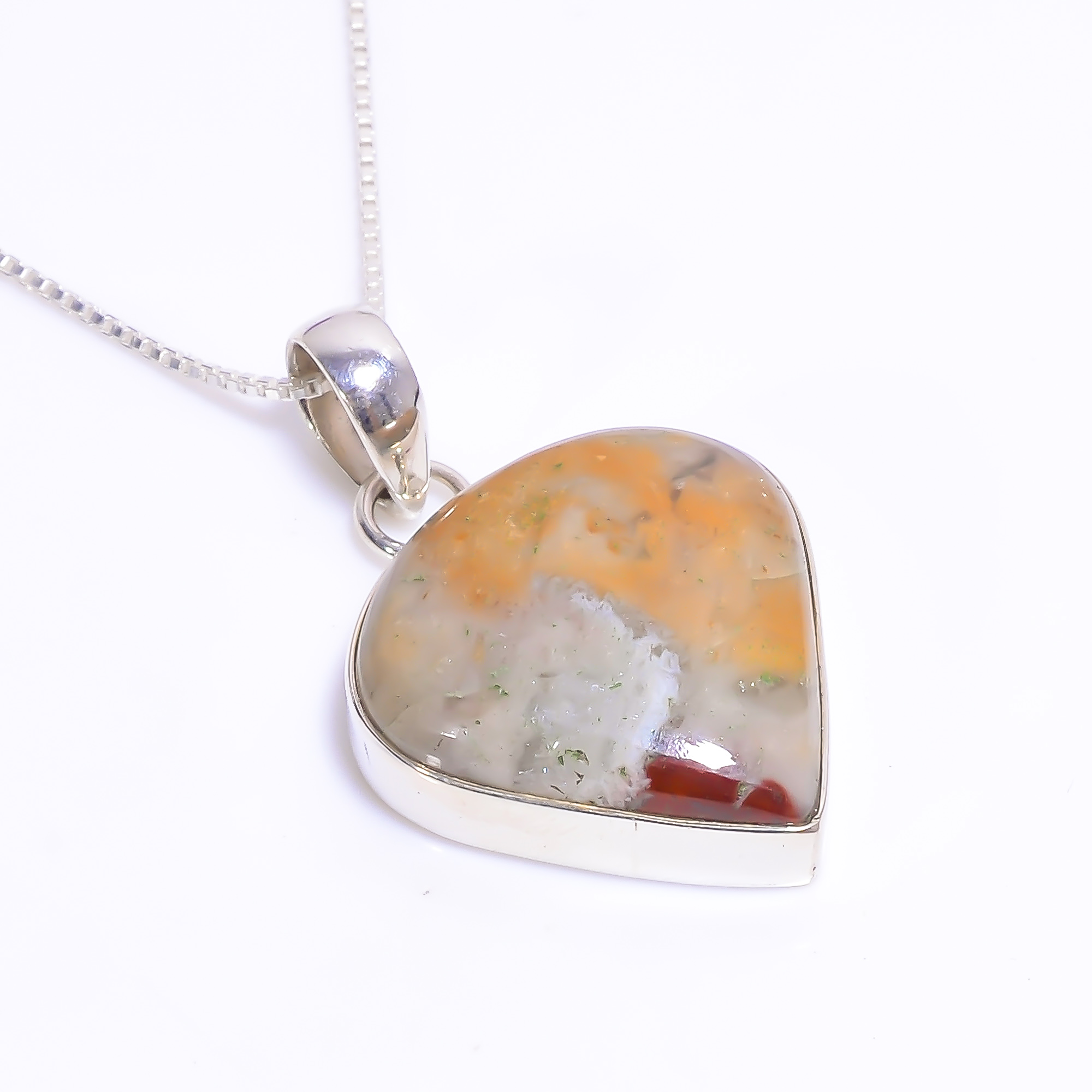 Natural Jasper Gemstone 925 Sterling Silver Chain Pendant Necklace