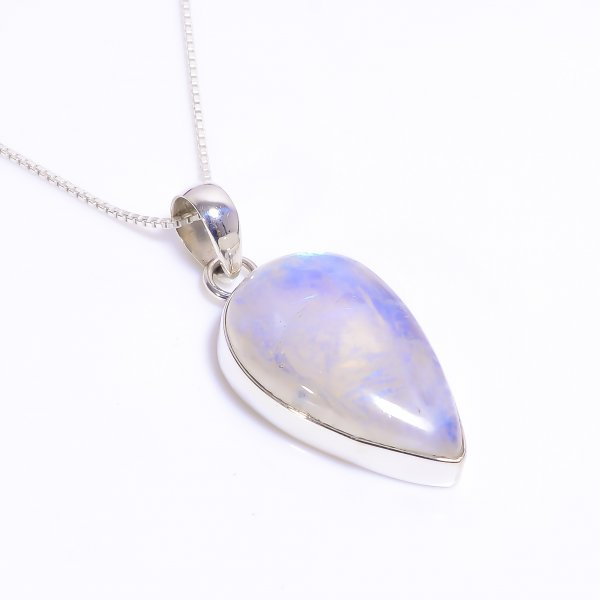Natural Rainbow Moonstone 925 Sterling Silver Chain Pendant Necklace