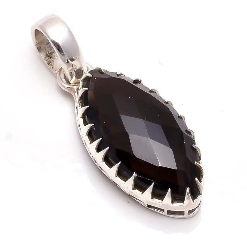 Smoky Gemstone 925 Sterling Silver Pendant