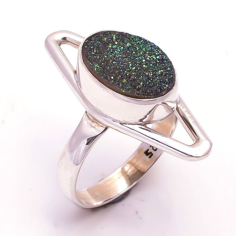 Druzy Gemstone 925 Sterling Silver Ring Size 8