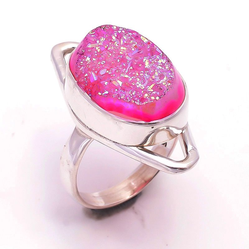 Druzy Gemstone 925 Sterling Silver Ring Size 6