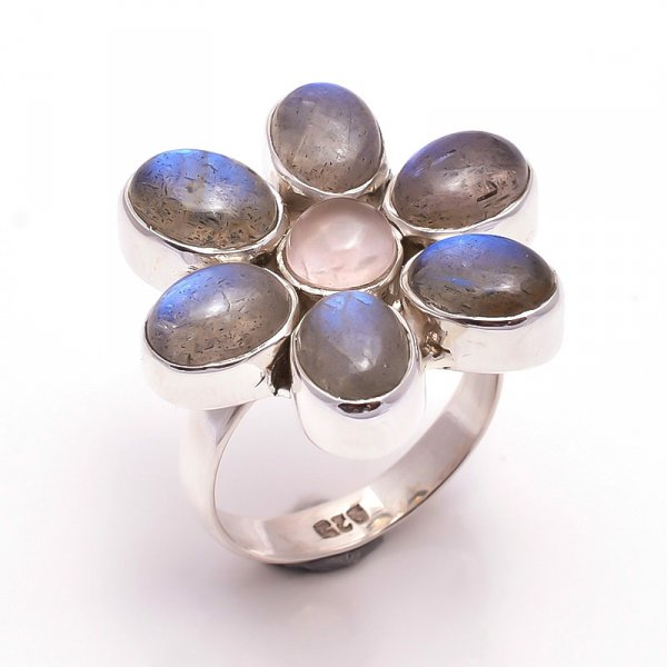 Labradorite Rose Quartz Gemstone 925 Sterling Silver Ring Size 7