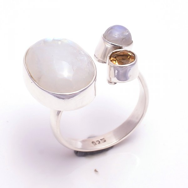 Rainbow Moonstone Citrine Gemstone 925 Sterling Silver Ring Size 8 Adjustable