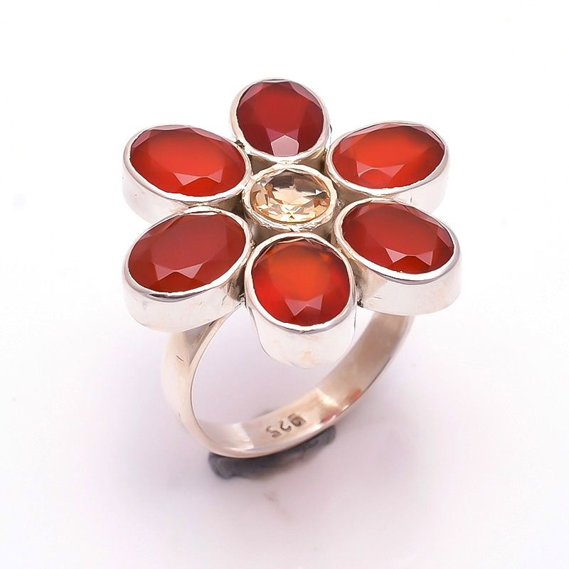 Citrine Carnelian Gemstone 925 Sterling Silver Ring Size 7.5
