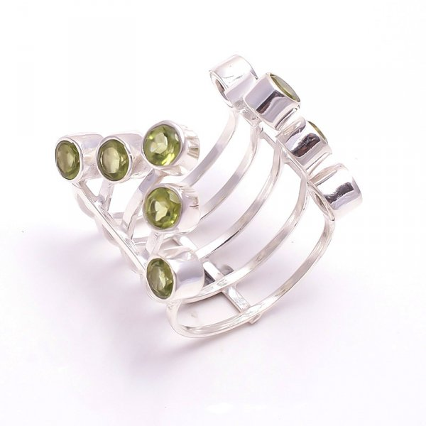 Peridot Gemstone 925 Sterling Silver Ring Size 6.5 Adjustable