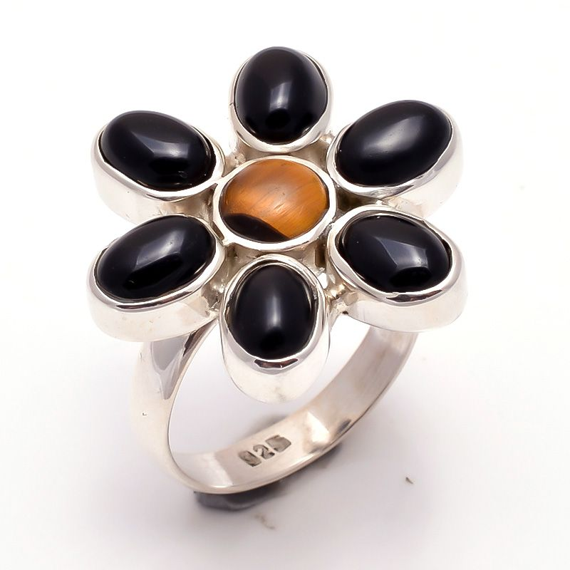 Black Onyx Tiger Eye Gemstone 925 Sterling Silver Ring Size 6.5