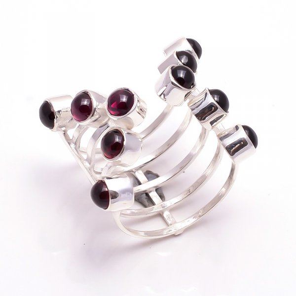 Garnet Gemstone 925 Sterling Silver Ring Size 9