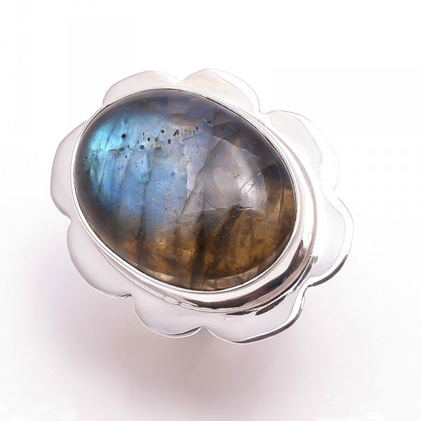 Labradorite Gemstone 925 Sterling Silver Ring Size 6.5