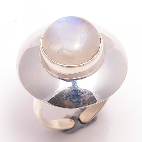 Rainbow Moonstone 925 Sterling Silver Ring Size 7 Adjustable