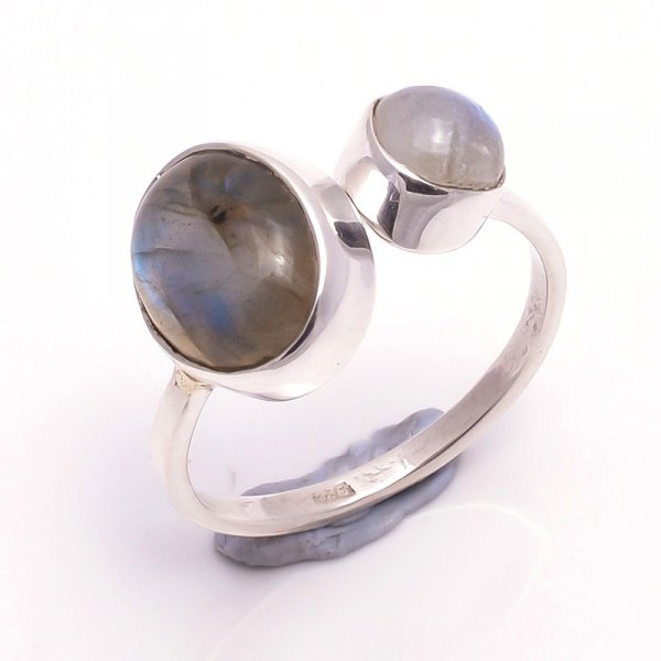 Labradorite Rainbow Moonstone 925 Sterling Silver Ring Size 6 Adjustable