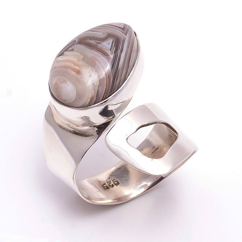 Crazy Lace Agate Gemstone 925 Sterling Silver Ring Size 8 Adjustable