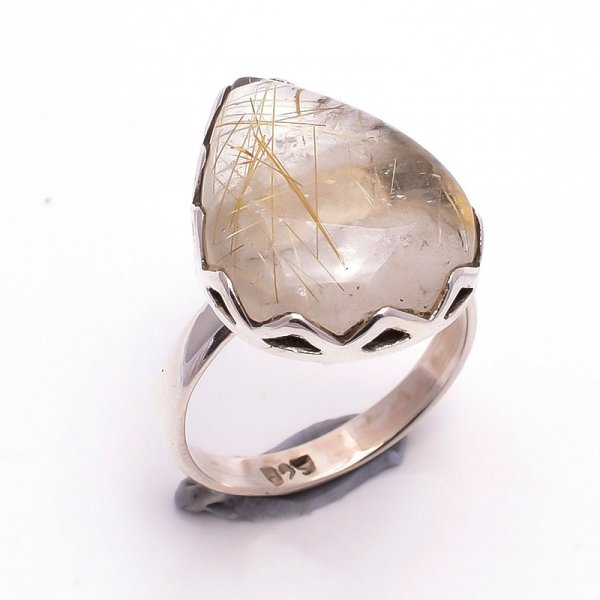 Golden Rutile Gemstone 925 Sterling Silver Ring Size 7