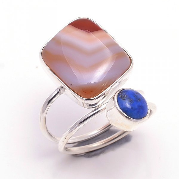 Lapis Mookaite Gemstone 925 Sterling Silver Ring Size 7