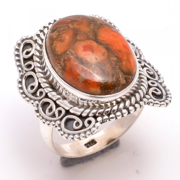 Orange Copper Turquoise Gemstone 925 Sterling Silver Ring Size 7.5