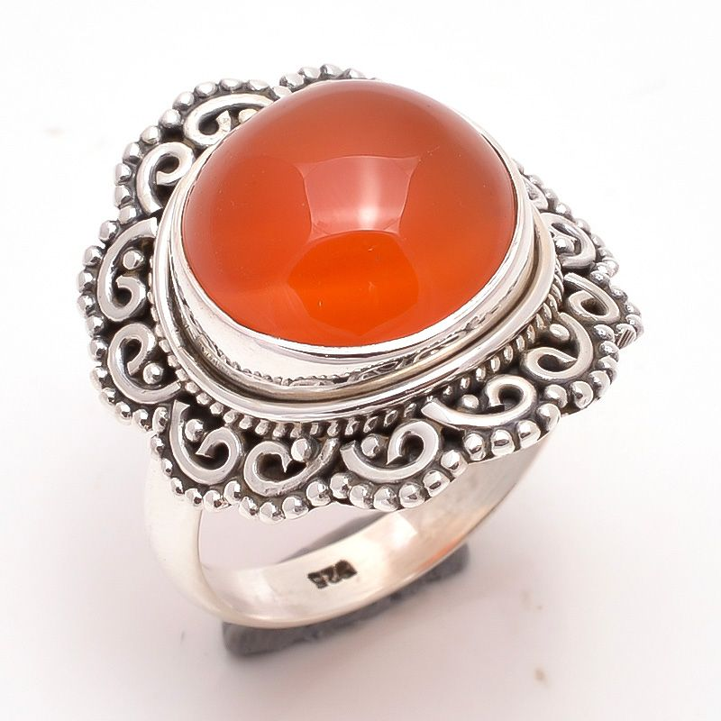 Carnelian Gemstone 925 Sterling Silver Ring Size 7.5