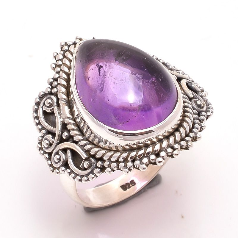 Amethyst Gemstone 925 Sterling Silver Ring Size 6.5