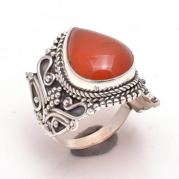 Red Onyx Gemstone 925 Sterling Silver Ring Size 7