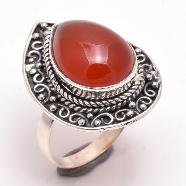 Red Onyx Gemstone 925 Sterling Silver Ring Size 7.5