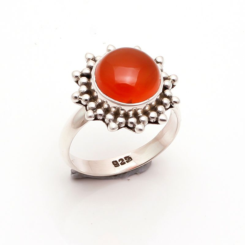 Carnelian Gemstone 925 Sterling Silver Ring Size US 8