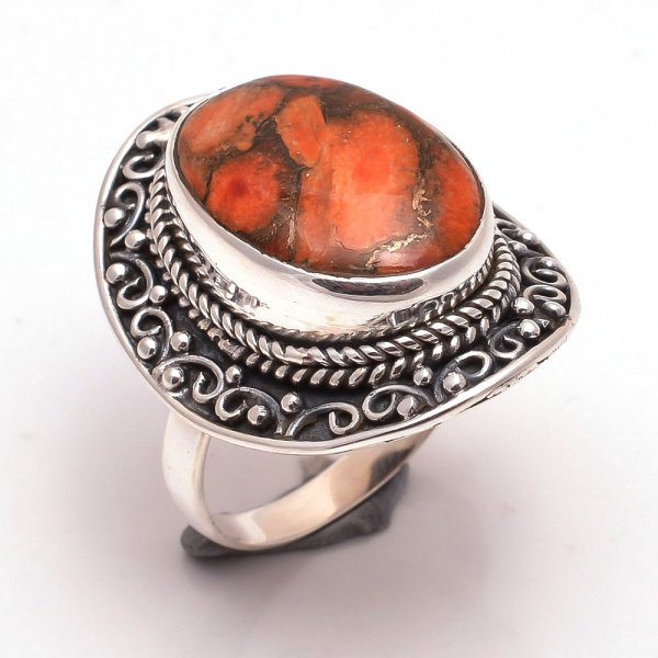 Orange Copper Turquoise Gemstone 925 Sterling Silver Ring Size 8
