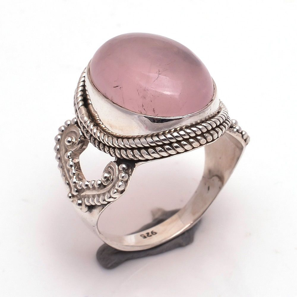 Rose Quartz Gemstone 925 Sterling Silver Ring Size 7