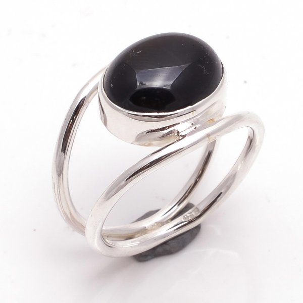 Black Onyx Gemstone 925 Sterling Silver Ring Size 6.5