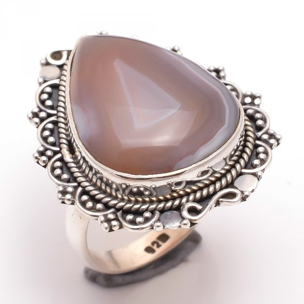 Botswana Agate Gemstone 925 Sterling Silver Ring Size 7