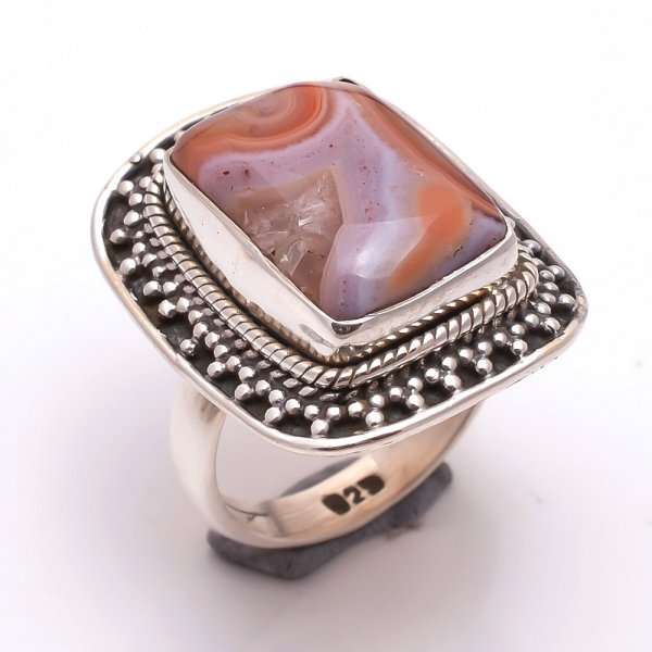Crazy Lace Agate Gemstone 925 Sterling Silver Ring Size 7