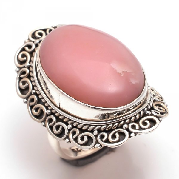 Pink Opal Gemstone 925 Sterling Silver Ring Size 8