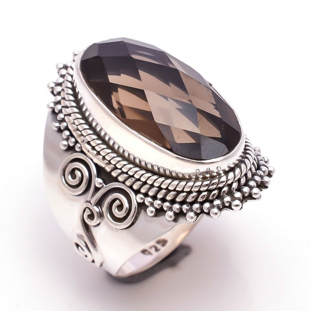 Smoky Gemstone 925 Sterling Silver Ring Size 7