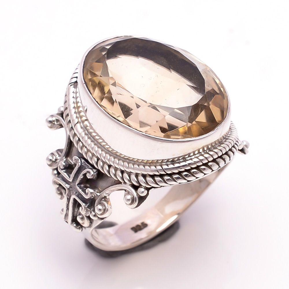 Citrine Gemstone 925 Sterling Silver Ring Size 6.5