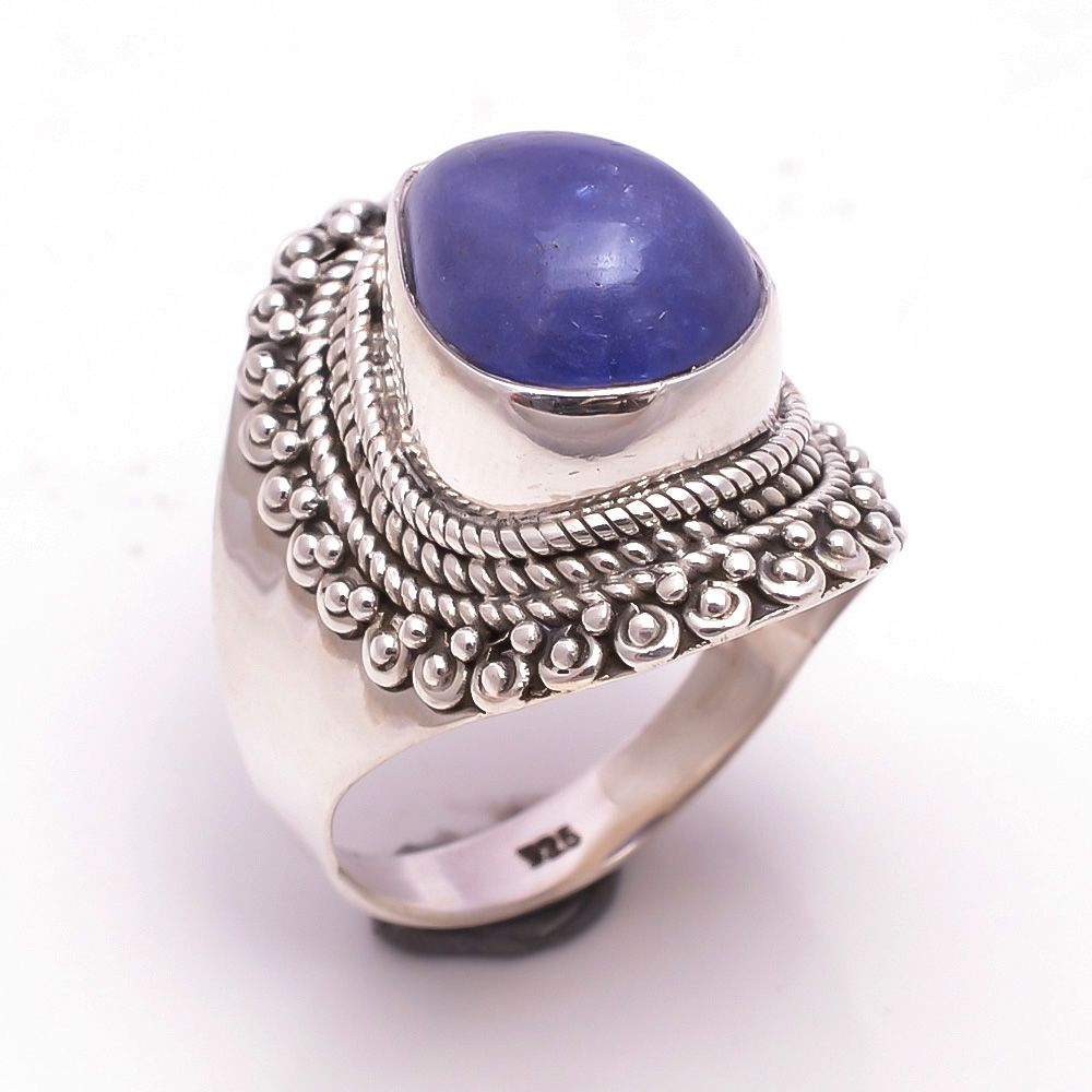 Tanzanite Gemstone 925 Sterling Silver Ring Size 8