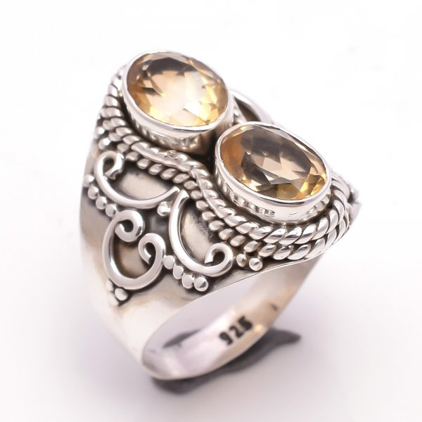 Citrine Gemstone 925 Sterling Silver Ring Size 8