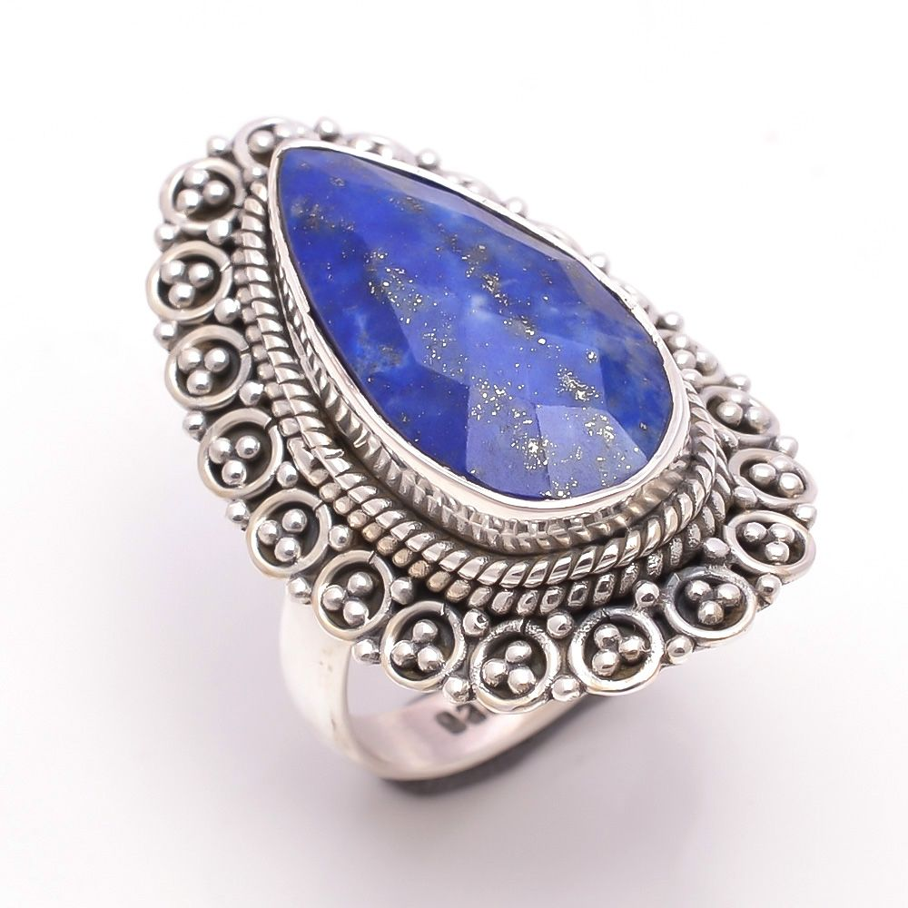 Lapis Gemstone 925 Sterling Silver Ring Size 6