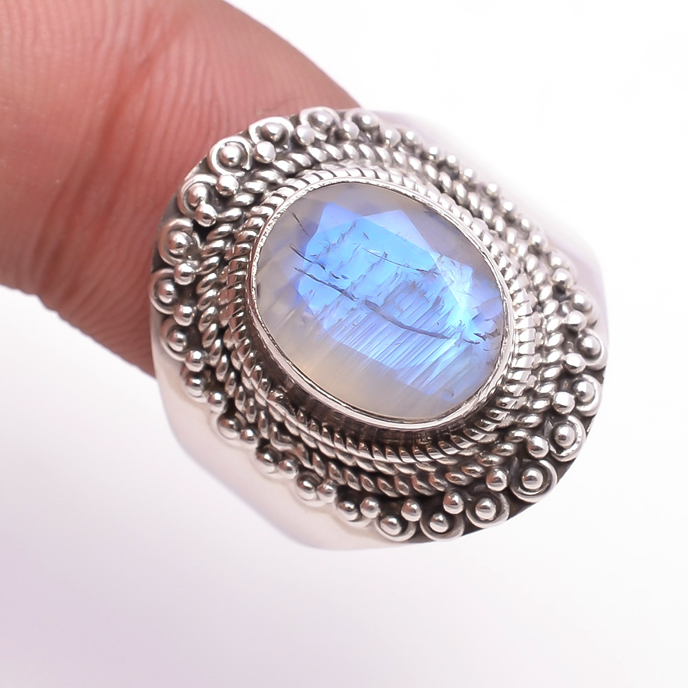 Rainbow Moonstone 925 Sterling Silver Ring Size US 7.5