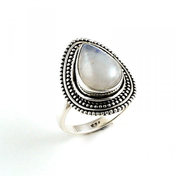 Rainbow Moonstone 925 Sterling Silver Ring Size 9