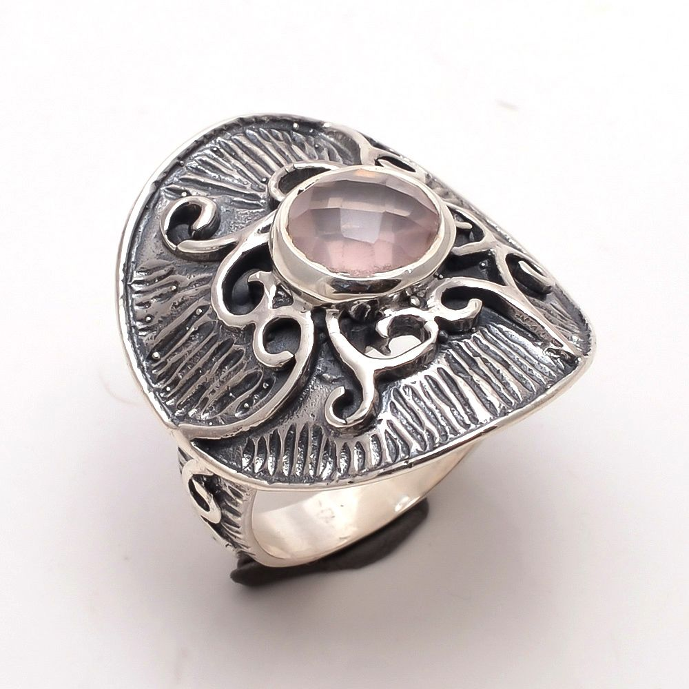 Rose Quartz Gemstone 925 Sterling Silver Ring Size 6