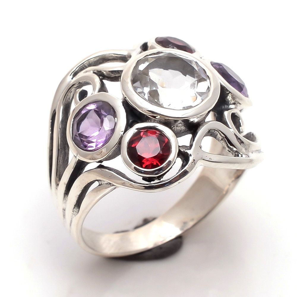 Crystal Garnet Amethyst Gemstone 925 Sterling Silver Ring