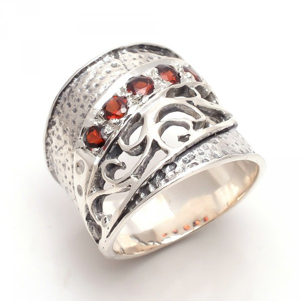 Garnet Gemstone 925 Sterling Silver Ring Size US 6.5